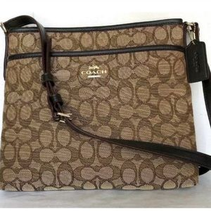 Coach Signature Jacquard File Crossbody Khaki